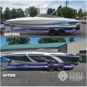 Baja Boat Vinyl Wrap makes older boat look new and cool