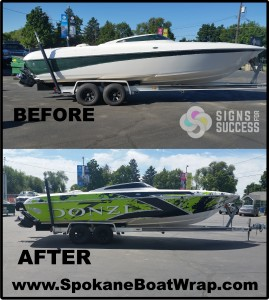 Donzi custom boat graphics or custom vinyl wrap spokane