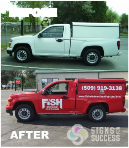 White Chevy Colorado truck gets color changed to red for Fish Window Cleaning, commercial color change wrap