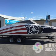 Flag Boat Wrap-vinyl wrap-3M wrap-red white and blue