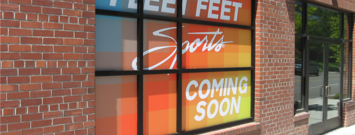Fleet Feet in Spokane, once they are open, they can easily change the bottom panel without having to replace whole graphic