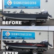 New Vinyl Graphics on Lund Fishing Boat, boat stripes