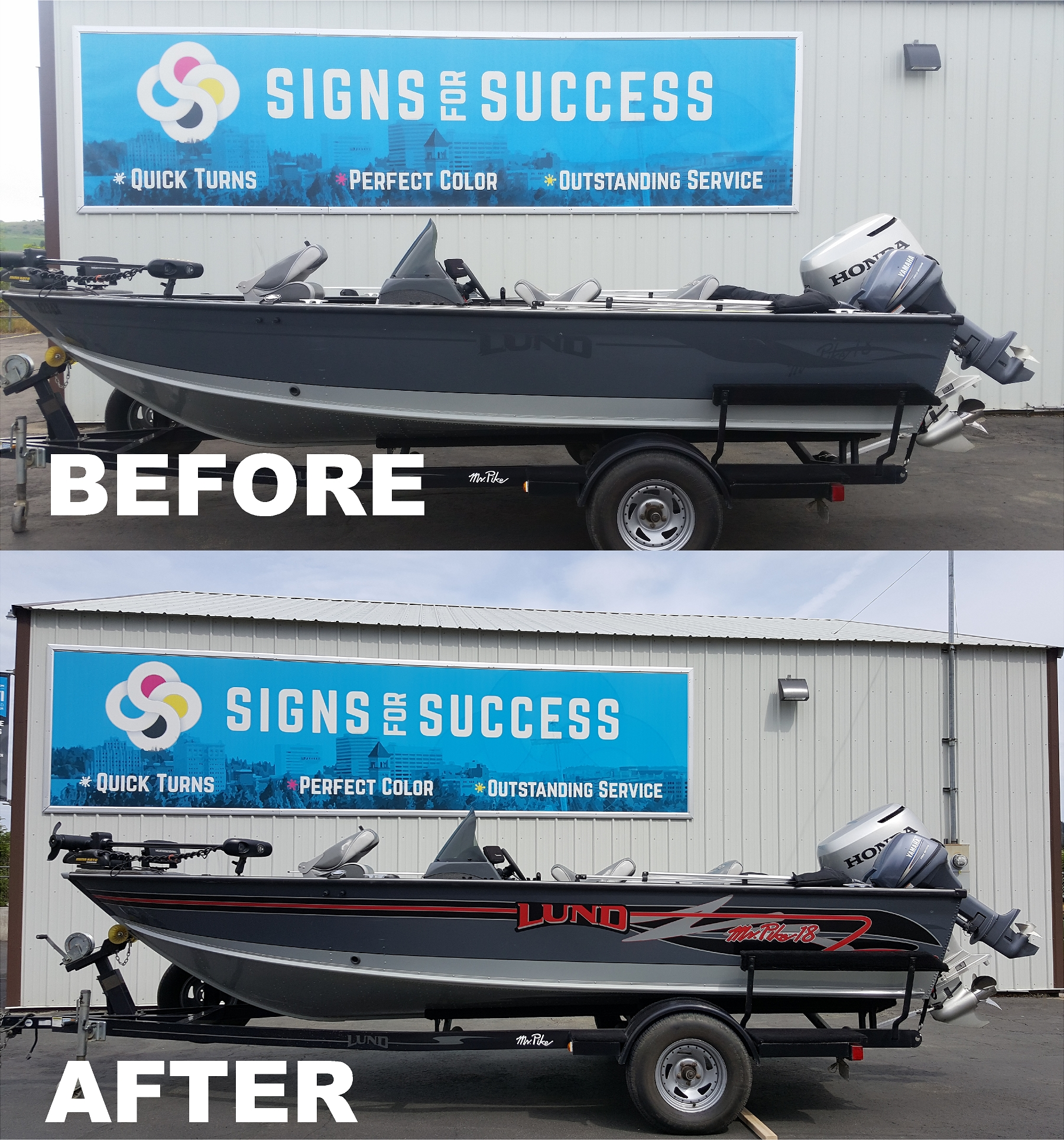 New vinyl graphics on lund fishing boat boat stripes