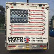 MATCO TOOLS flag graphics project patriotic theme on Route Van
