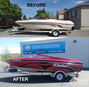 Rinker Boat Wrap before and after, custom boat wrap