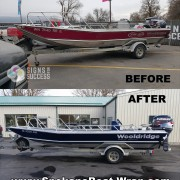 Woolridge Aluminum Jet Boat Vinyl Wrap makeover Before and After