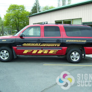 Attractive wrap for Airway Heights Fire with vinyl wrap and reflective vinyl lettering in Spokane and Fairchild AFB
