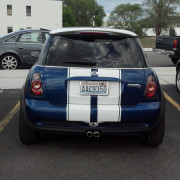 Cut high performance custom Rally Stripes on Mini Cooper in Spokane Valley & Cheney