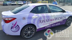 Away with Words loved the design and wrap we did on their last car, so when they got a new one, they came to us for the new design and Certified wrap as well