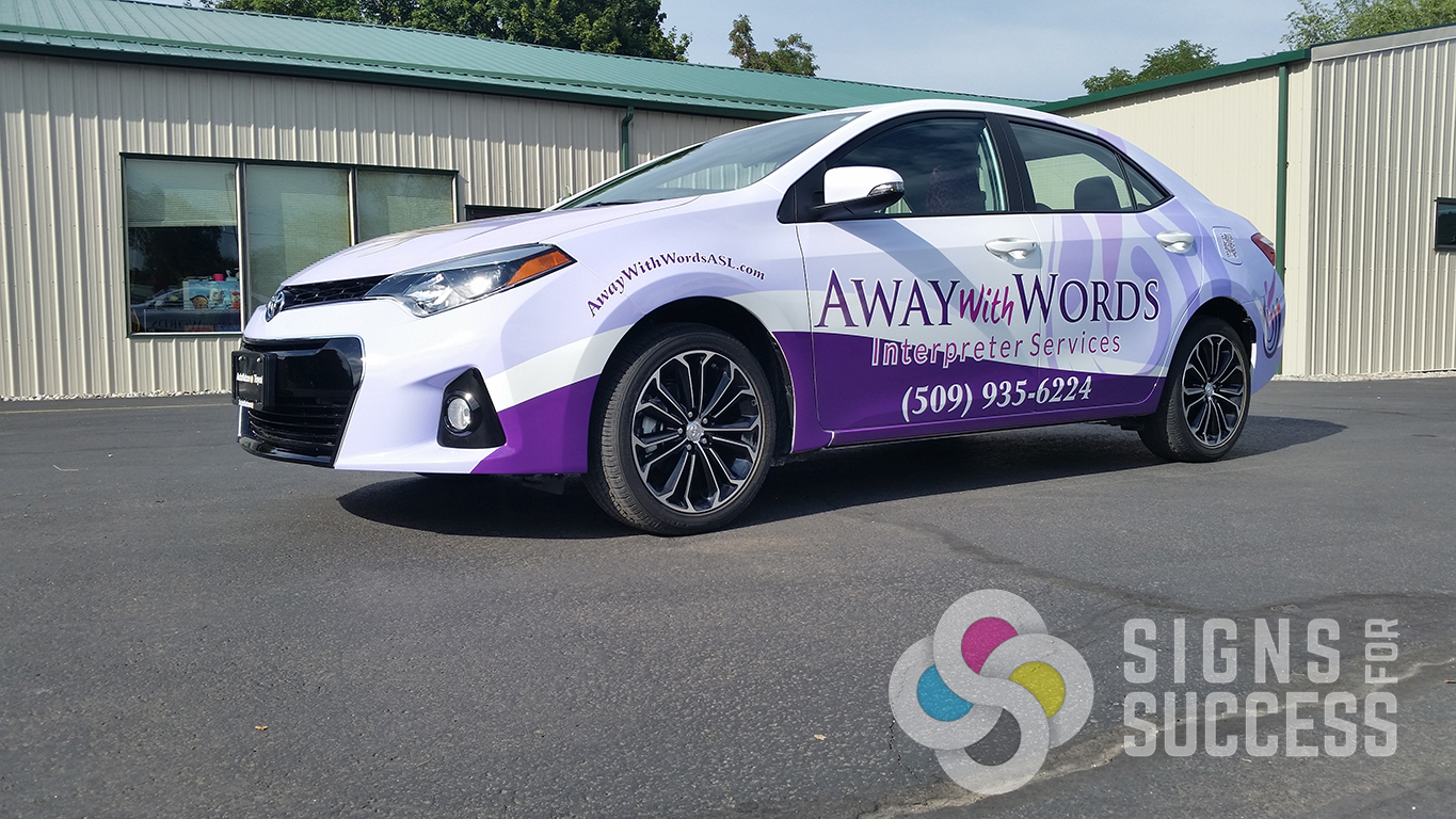 When you want an attractive logo designed then a custom wrap designed then your away with words full design wrap on car