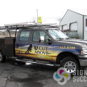 Partial pickup wrap with a wide band across sides of this Spokane Valley pickup, designed and wrapped by Signs for Success