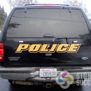 Airway Heights Police Department had Signs for Success add reflective lettering to their SUV fleet