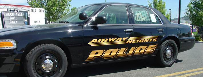 Reflective lettering on emergency vehicles adds a lot to Airway Heights Police fleet cars in Spokane