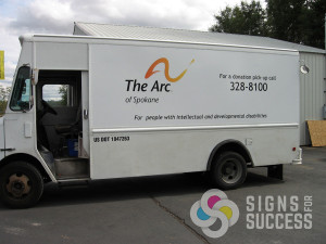 Wrap or just lettering on your step van like The Arc of Spokane by Signs for Success, van wraps spokane