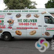 Food Truck Wraps-Photos of donuts and graphics and logos for Van wrap in Spokane Valley using certified installers
