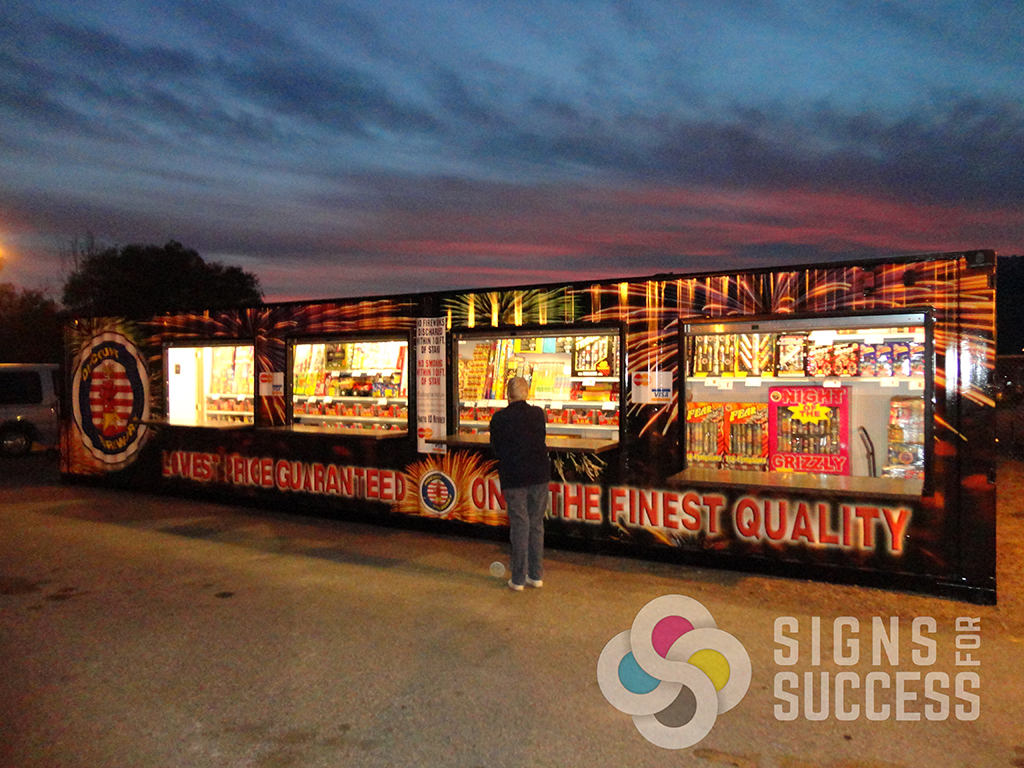 Discount Fireworks Stand Container Wrap Signs For Success