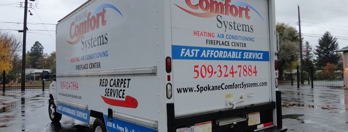 Signs for Success helped design layout, and with printed and cut wrap vinyl, we made an attractive billboard for Spokane Comfort Systems