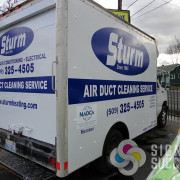 Using one color of cut vinyl graphics, we gave this box truck for Sturm in Spokane an advertising billboard that gets seen by thousands
