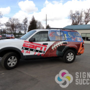 Sometimes, your sponsors or vendors may pay for advertising on your vehicles or other signs. Signs for Success can print and wrap that!