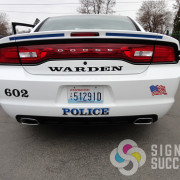 Identify your emergency police car with custom reflective text, logos, graphics by Signs for Success in Spokane and Warden
