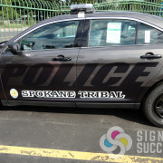 Printed and cut reflective vinyl on Spokane Tribe's police vehicles, the whole fleet looks consistent in Spokane and Chewelah