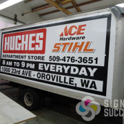 Using intermediate 3-5 year vinyl, we wrapped this box truck as a moving, custom billboard