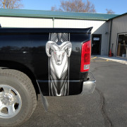 Pickup bed band, printed on chrome foil vinyl, then contour cut and installed on bed of pickup at Signs for Success in Spokane north of Hillyard