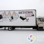 Using high performance wrap film, we designed and wrapped this great box truck for AAA Movers in Spokane