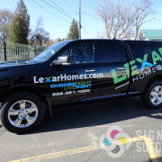 Lexar Homes with MDI Advertising designed and wrapped this pickup with a strong advertising message for this pickup wrap at Signs for Success in Spokane., truck wraps spokane