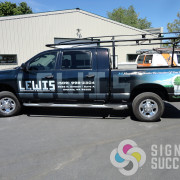 Signs for Success designed and installed this custom pickup wrap for Lewis Construction in Spokane, custom truck wrap spokane