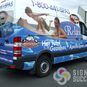 Certified wrap of sprinter for Market Vision Ad Agency and Apollo Spas in Spokane and Spokane Valley