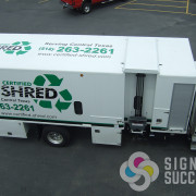 Green and Black vinyls installed in Spokane Valley, WA make this Texas Shredder truck a great advertising truck