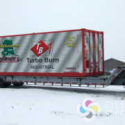 Container wrap for Turbo Burn, printed and installed in Spokane, WA for use in Alaska, Washington, and North Dakota