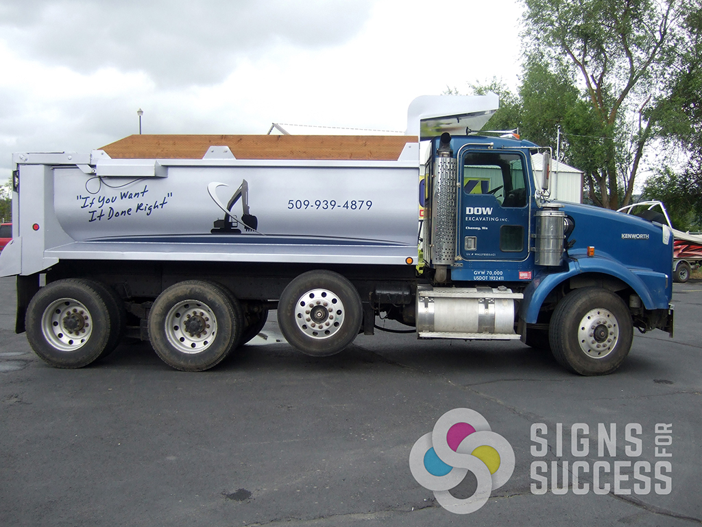 Dow dump truck signs for success for Big truck lettering