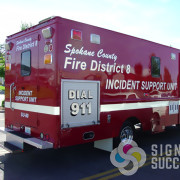 Add text and striping to create attractive, reflective message for any emergency vehicle in Spokane and Airway Heights