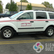 Add reflective lettering and stripes to your emergency vehicle for special effects by Signs for Success in North Spokane