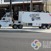 Hillyard Tire has this mini semi that needed logo lettering and graphics in North Spokane. Super Cute!