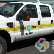 Add custom striping from high performance reflective vinyl to US BLM pickup in Spokane and Chewelah