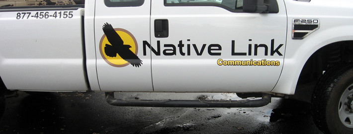 printed and cut vinyl added to pickup in Spokane and Cheney for Native Link Communications