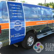 This custom wrap for Hampton Inn at Spokane Airport in Airway Heights is very pleasing