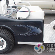 Designing flames with gradient, then cutting and installing wrap graphics on this golf cart was a lot of fun in Spokane