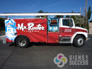 Mr. Rooter custom truck wrap, get custom vehicle graphics in Spokane, contractor vehicle graphics and franchise vehicle wraps at Signs for Success, contractor advertising ideas