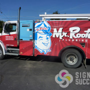 Fleet wrap of trucks, equipment, vehicles for Mr. Rooter in Spokane and North Idaho