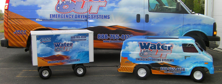 After wrapping Water Out JRCC fleet in Moses Lake, we wrapped their gocart and made a sign for their water trailer too