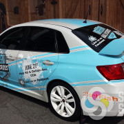 Stuart Advertising in Spokane and Spokane Valley designed this amazing wrap for Parker Subaru's sponsorship of Rallycross in Coeur d'Alene, ID