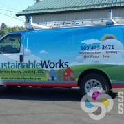 Signs for Success designed and wrapped this van for Sustainable Works in Hillyard, Spokane, WA