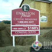 This rigid post sign for Envision Homes in Airway Heights and Medical Lake was hand shaped at the top