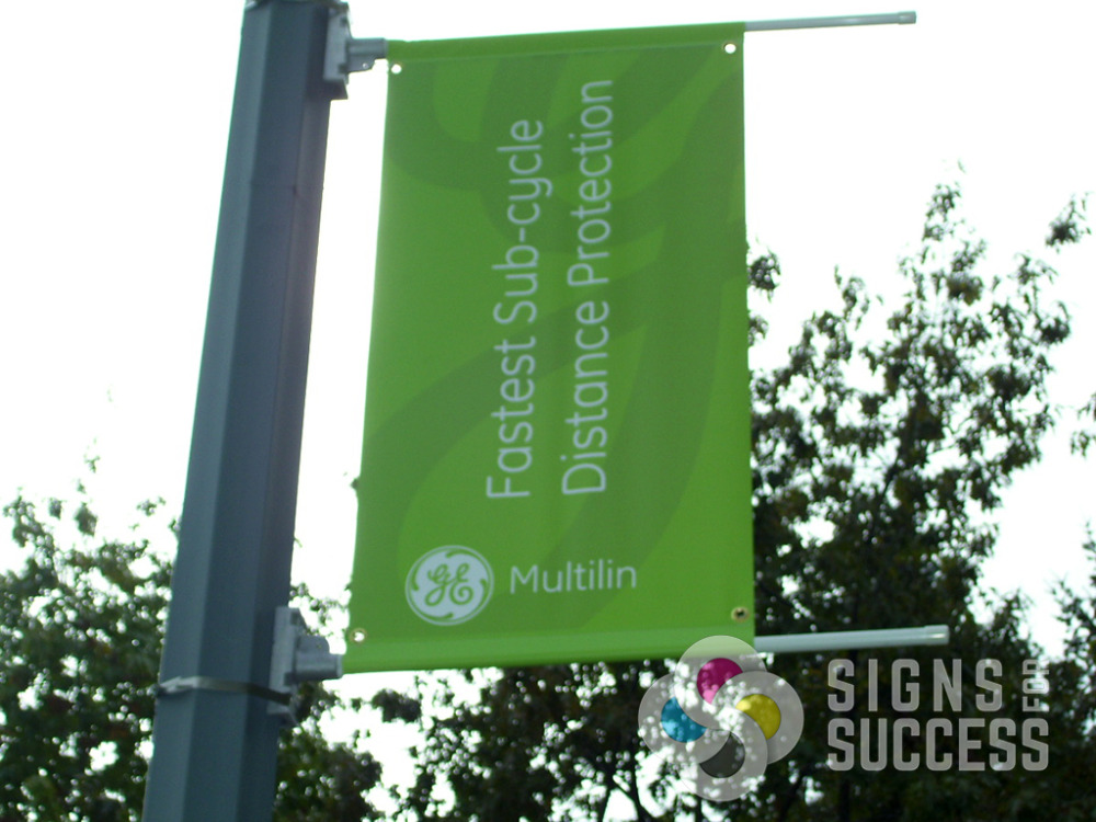 Sponsorship by GE at Riverfront Park, pole banners printed, finished and installed