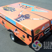 Spokane Shock wanted this trailer for RVs Northwest wrapped in their signature colors and logos in Spokane