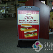 Corrugated plastic, coro is the common insert for a-frame sidewalk signs